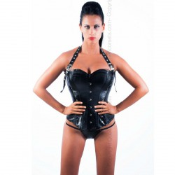 QUEEN CORSETS ÁGATHA LEATHER NEGRO T-S