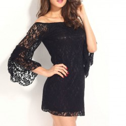 QUEEN VESTIDO NEGRO MANGAS LARGAS BORDADO