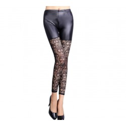 QUEEN LINGERIE LEGGING BLACK LEATHER SPLICE