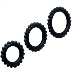 BAILE TITAN SET 3PCS COCK RING BLACK 2.8 + 2.4 + 1.9 CM