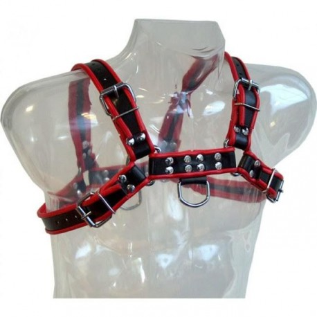 LEATHER BODY CHAIN HARNESS III BLACK / RED