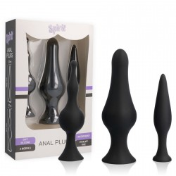 SPIRIT TRAINING ANAL PLUGS SILICONE NEGRO 3PCS