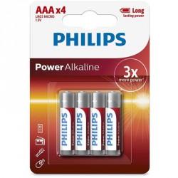 PHILIPS POWER ALKALINE PILA AAA LR03 BLISTER*4